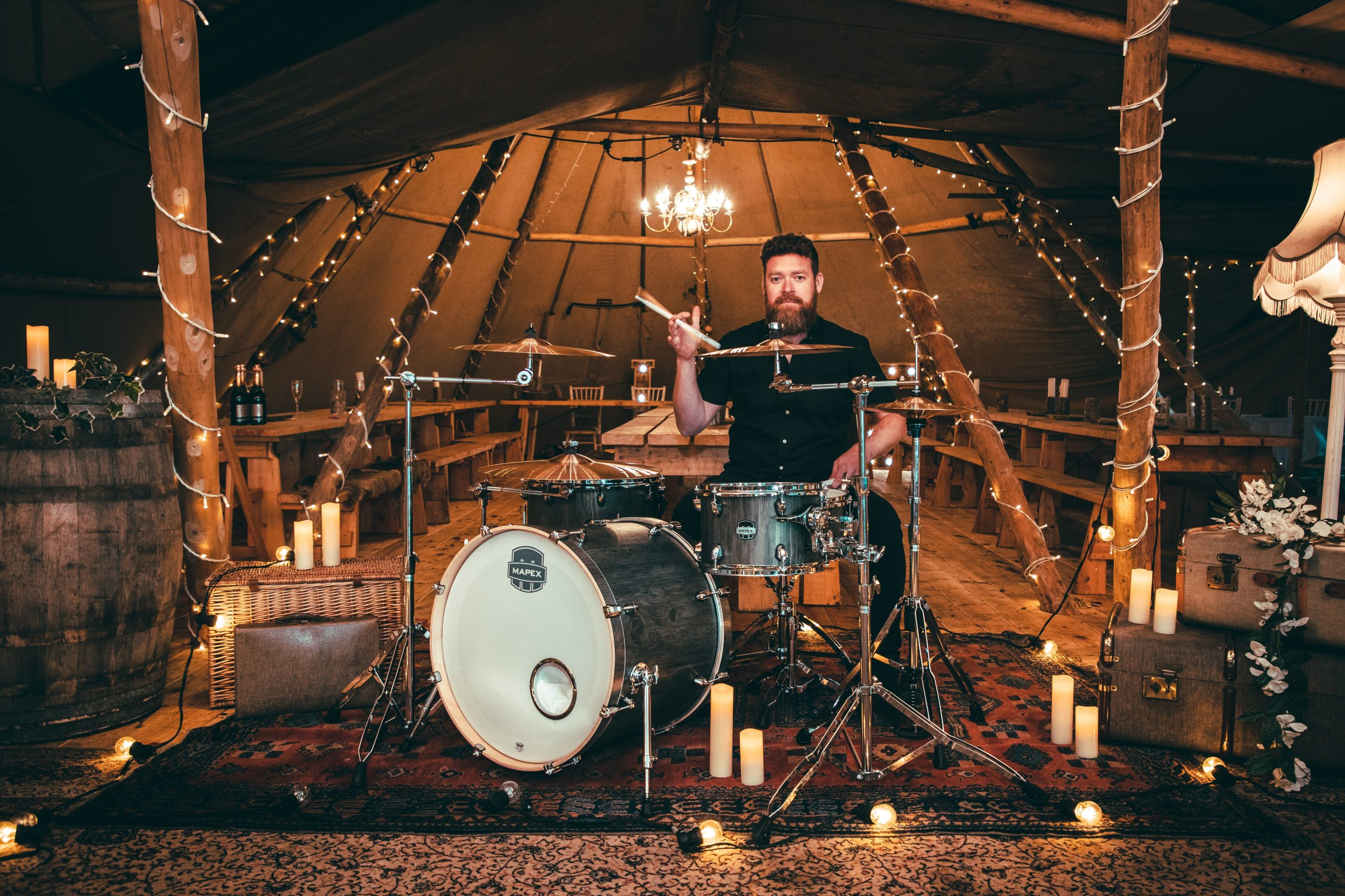 drummer-at-wedding-candles-rustic